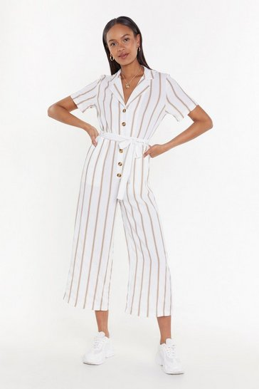 Womens White Lay It On the Line Striped Jumpsuit