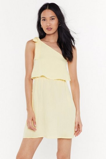 Womens Lemon I Wanna Bow One Shoulder Mini Dress