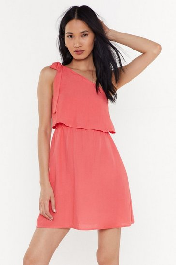 Womens Coral I Wanna Bow One Shoulder Mini Dress