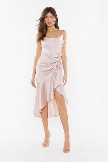 Womens Mauve Slick City Gal Satin Midi Dress