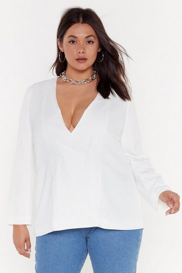 Womens White Handle Your Business Plus Double Breasted Blazer