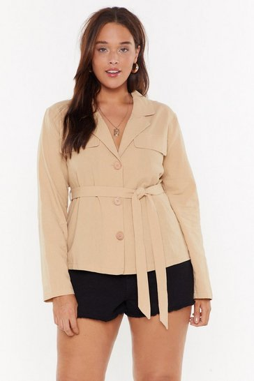 Womens Sand I Mean Business Plus Linen Belted Shirt