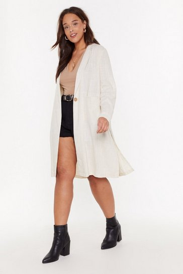 Womens Oatmeal Linen Overcoat
