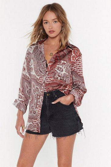 Womens Rust Paisley Dirty Oversized Shirt