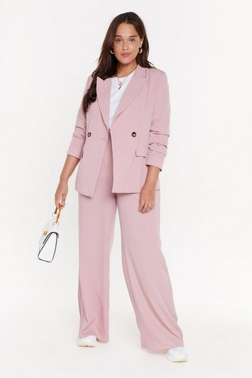 Womens Pink Wide Leg Relaxed Trousers