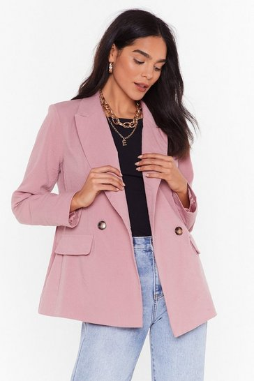 Womens Pink Relaxed DB Blazer