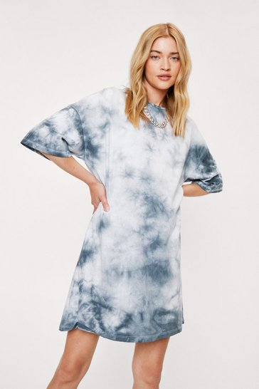 Black Acid Wash Crew Neck T-Shirt Dress