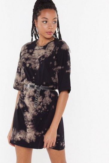 Brown Acid Wash Crew Neck T-Shirt Dress
