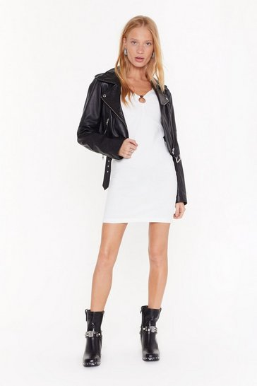 Womens White O-Ring It Loud Ribbed Mini Dress