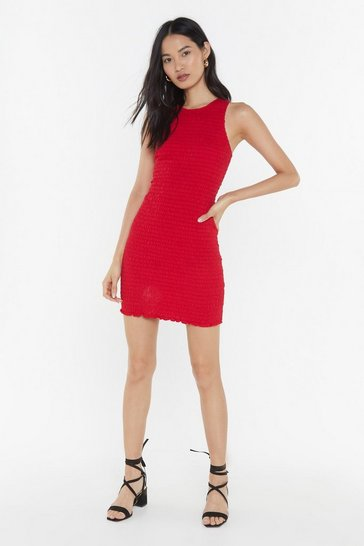 Womens Red Fully Shirred Racer Mini Dress