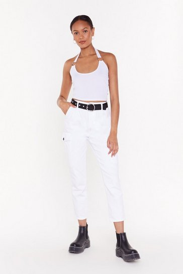 Womens White Stand By Me Tapered Cargo Pants