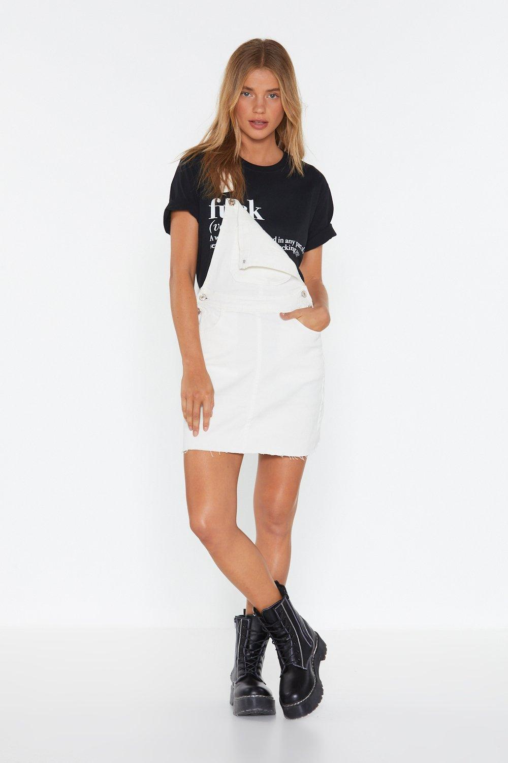 Perfect Day Denim Pinafore Dress by Nasty Gal
