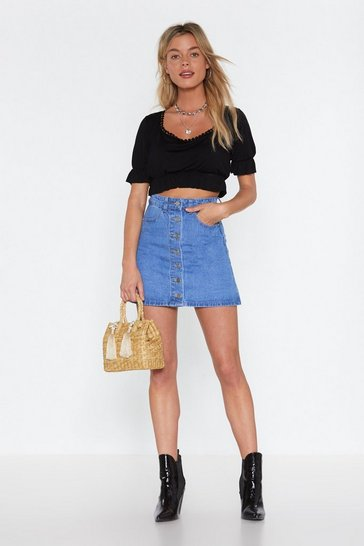 Womens Mid blue Denim Button Through Mini Skirt