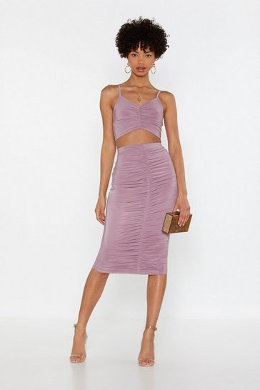 Womens Mauve Ruched Crop & Midi Skirt Co ord