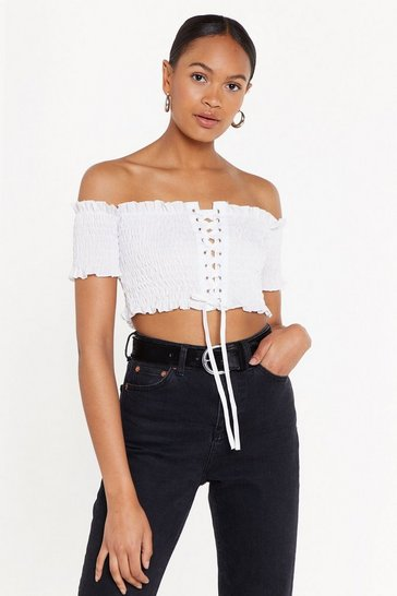 Womens White Lace-Up to You Shirred Off-the-Shoulder Top