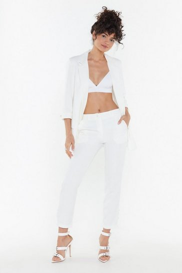 Womens White Just Add Pearls Tailored Trousers