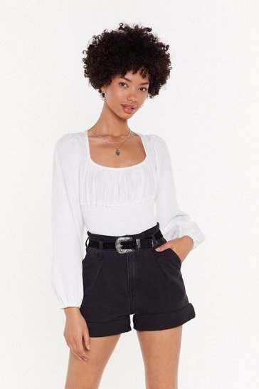 Womens White You Haven't Shirred It From Me Square Neck Blouse