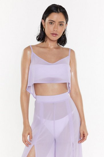 Womens Lilac Sittin' On the Dock of the Bay Cover-Up Top