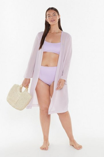 Womens Mauve Girls Just Wanna Have Sun Cover-Up Plus Kimono