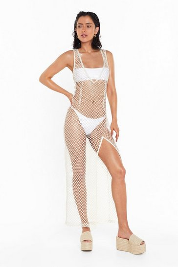 Womens Cream What a Catch Fishnet Cover-Up Dress