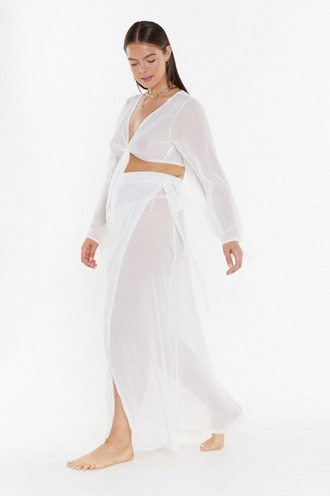 Womens Cream We'll Sea About That Chiffon Cover-Up Plus Skirt