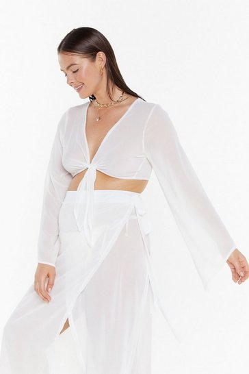 Womens Cream We'll Sea About That Chiffon Cover-Up Plus Top