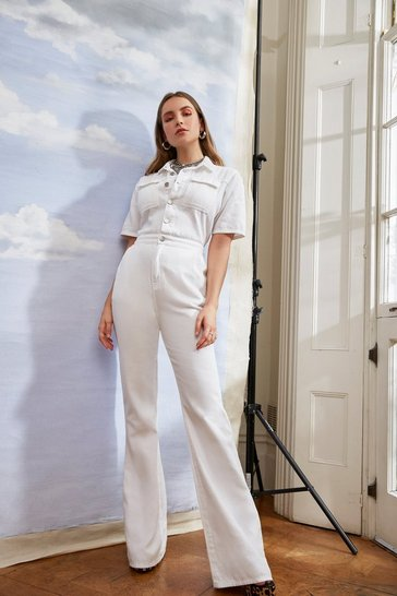 Womens White Work It Out Flare Button-Down Boilersuit