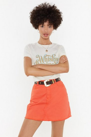 Womens Coral Denim Mini Skirt