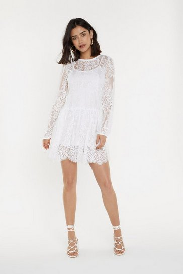 Womens White Lace Smock Dress