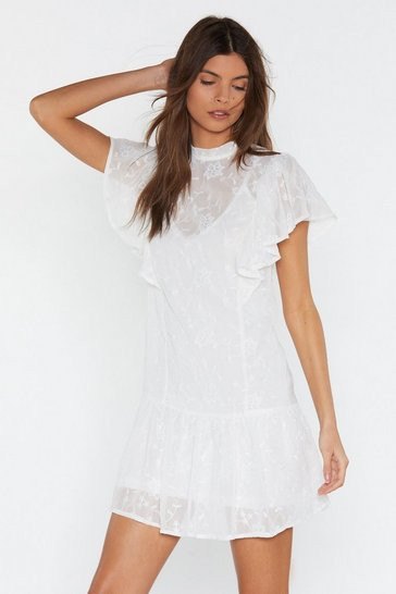 Womens White Floral Ruffle Smock Dress