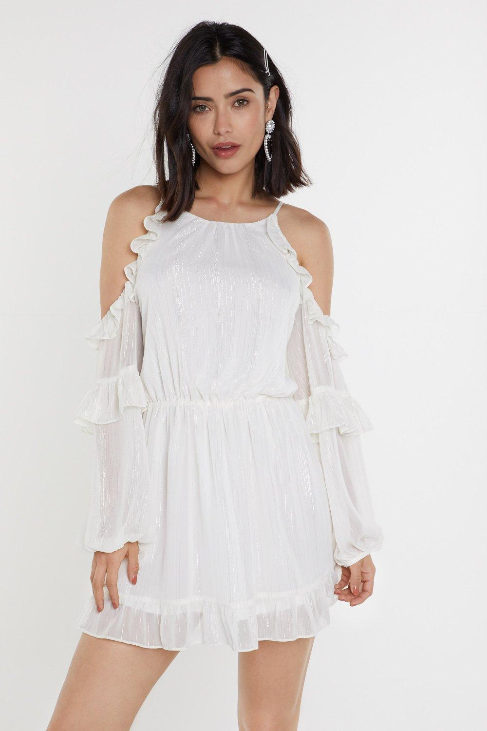 Don't Sleeve Me That Way Cold Shoulder Ruffle Dress