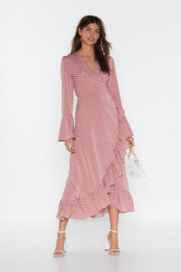 Womens Rose Dot to Have Your Love Polka Dot Midi Dress