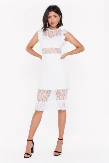 Womens White Heartache Taught Lace Midi Dress