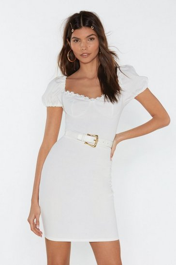 Womens White Lace 'Em Have It Puff Sleeve Dress