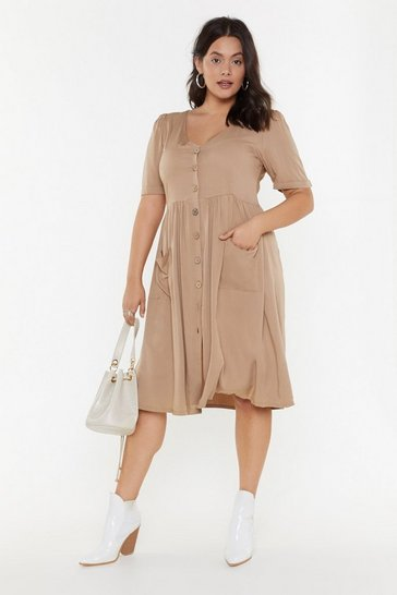 Womens Camel What's Going Button Relaxed Plus Dress