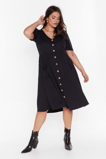 Womens Black MS Button Front Midi Smock Dress