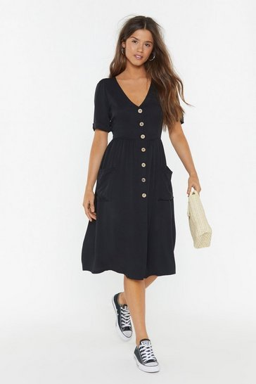 Womens Black Button My Radar Midi Dress