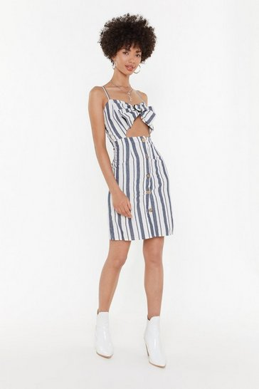 Womens Blue On the Right Lines Striped Cut-Out Dress