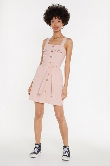 Womens Peach Linen Button Front Mini Dress