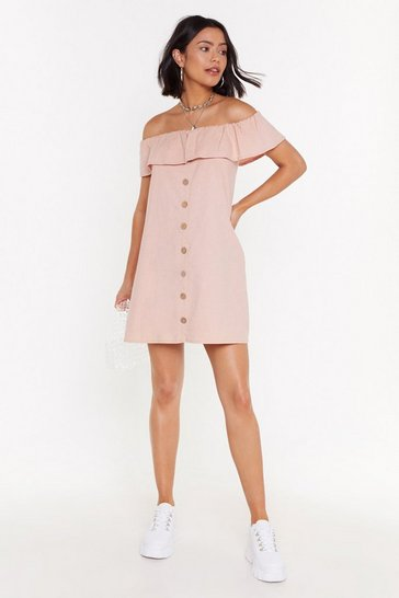 Womens Peach Haters Back Off-the-Shoulder Mini Dress
