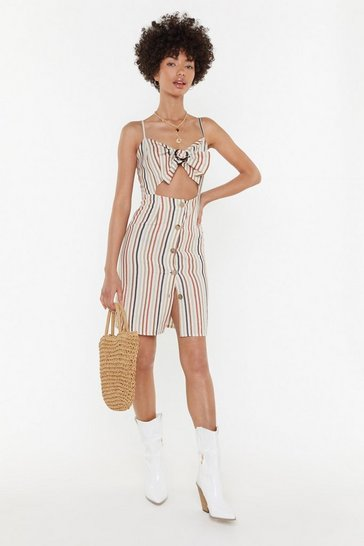 Womens Rust On the Right Lines Striped Cut-Out Dress