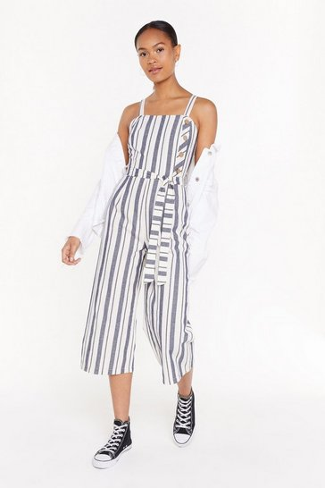 Womens Blue Stripe Me Down Linen Jumpsuit