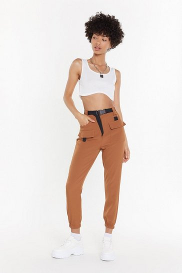 Womens Tobacco Driver's Seat Belted Jogger Trousers