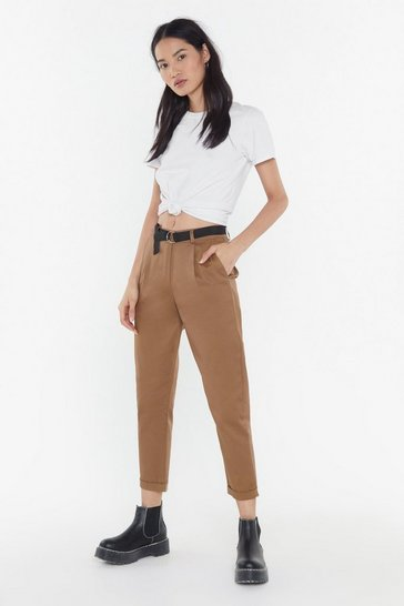 Womens Tobacco D-Ring Me Tapered Pants