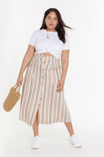 Womens Rust Stripe of Luck Plus Midi Skirt