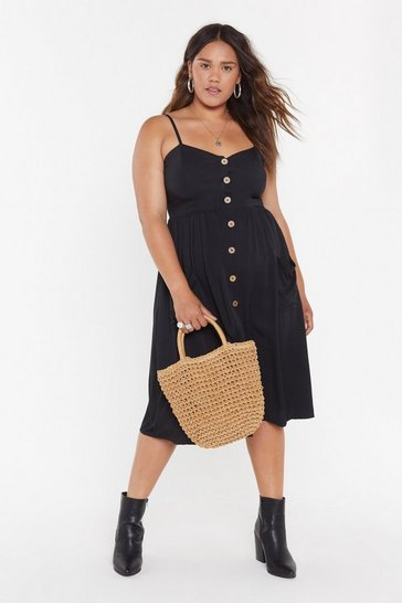 Womens Black MS Button Front Strappy Midi Dress