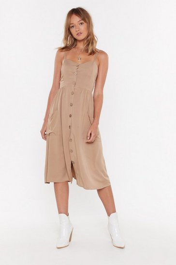 Womens Camel Button My Radar Midi Dress