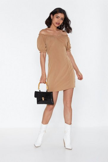 Womens Beige I Must Be Off-the-Shoulder Mini Dress