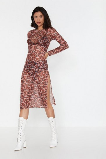 Womens Brown No Growing Back Floral Midi Dress