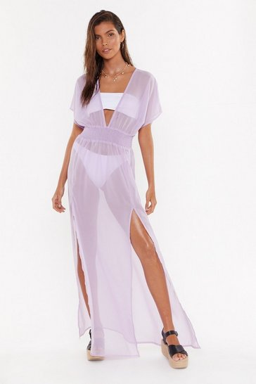 Womens Lilac Tough Slit Cover Up Maxi Dress